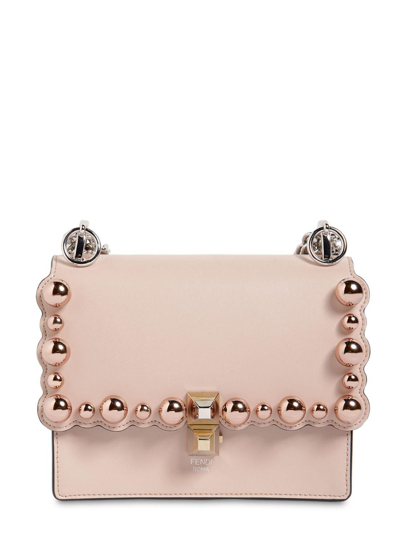 95f707b2ed8f Fendi - Pink Small Kan I Scalloped Beads Leather Bag - Lyst. View fullscreen