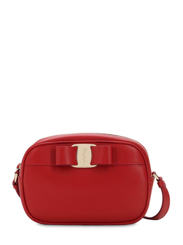 3e663a4f32 Lyst - Ferragamo Leather Camera Bag in Red
