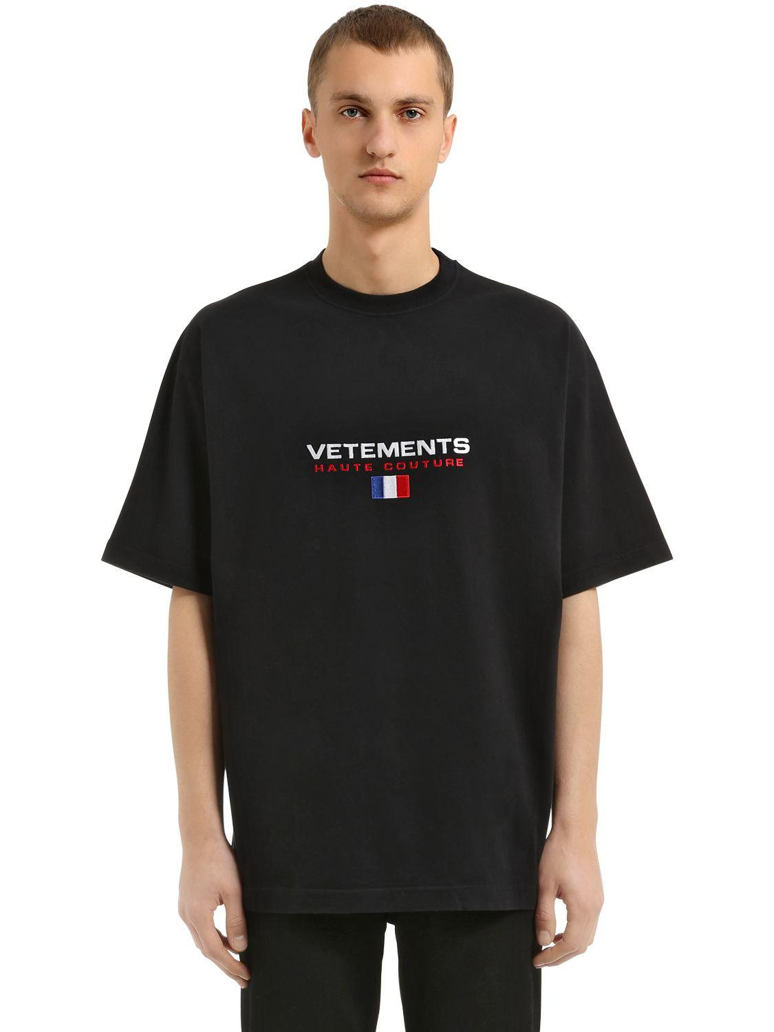 lyst vetements oversized haute couture jersey t shirt in. Black Bedroom Furniture Sets. Home Design Ideas