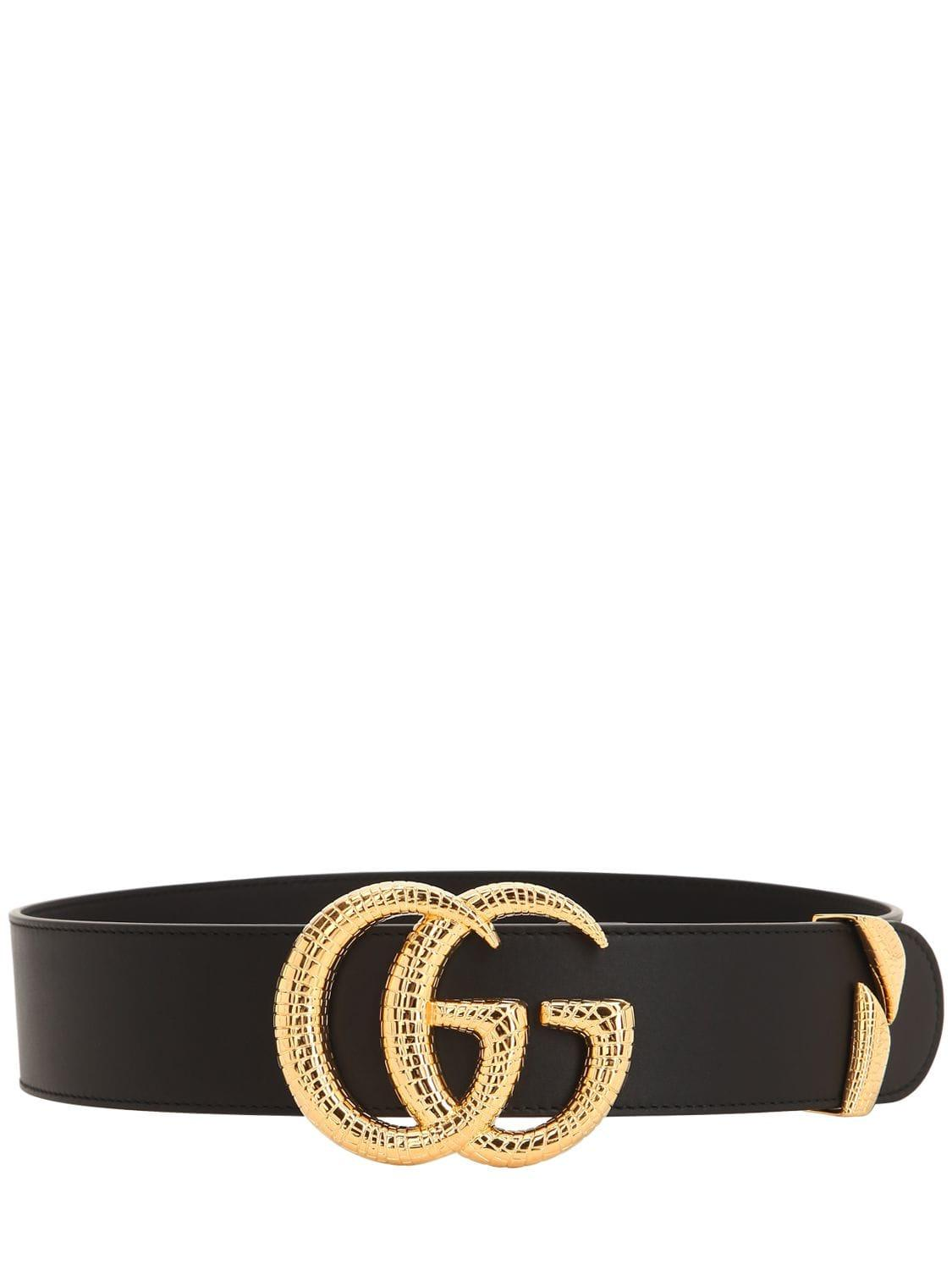 96211740ba2 Lyst - Gucci 50mm Gg Snake Buckle Leather Belt in Black