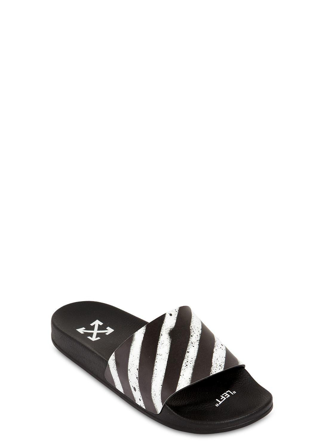 b19cc75a2609 Off-White c o Virgil Abloh - Black Spray Stripes Slide Sandals for Men.  View fullscreen