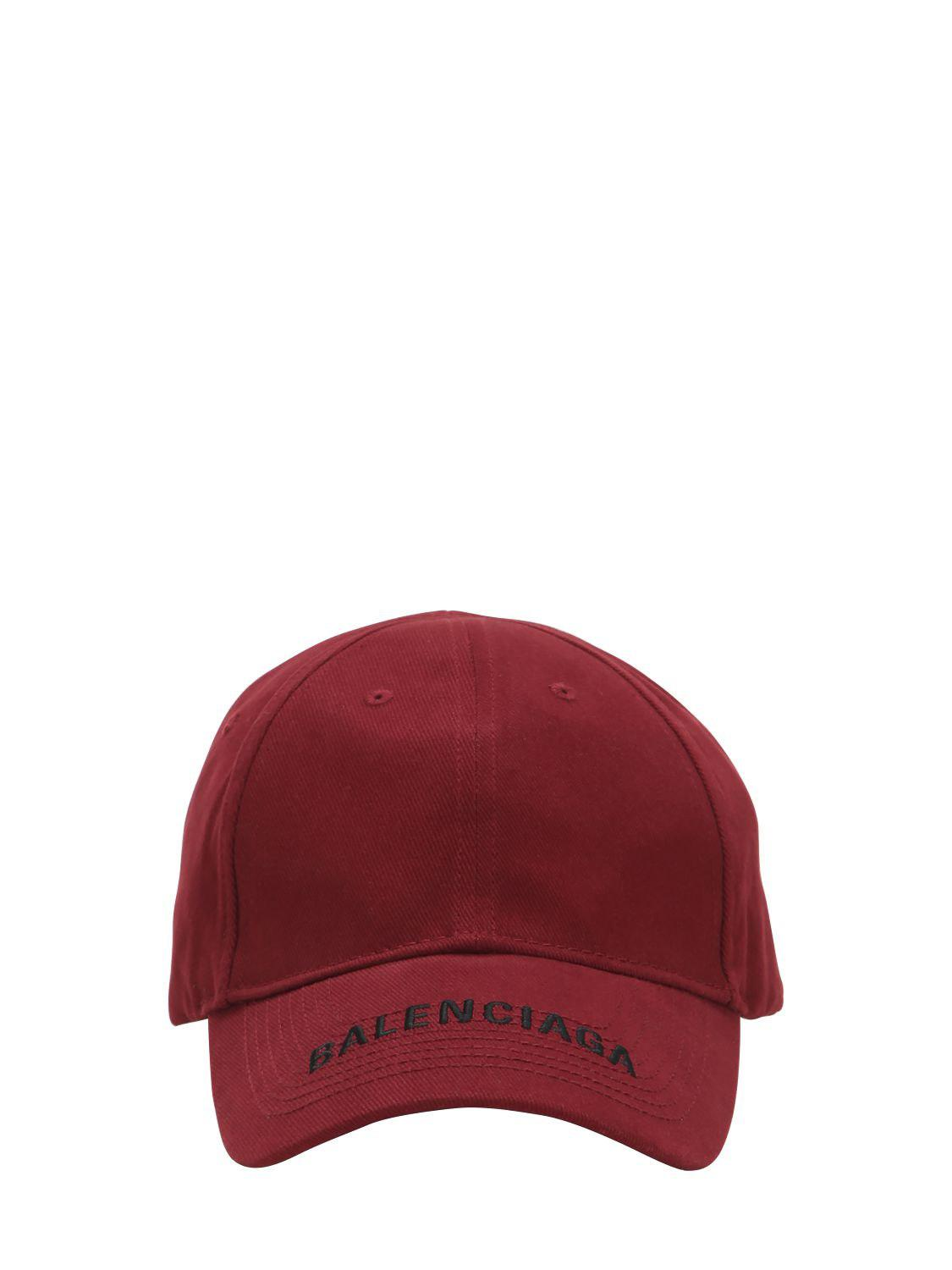 c36ebc3c Balenciaga Logo Embroidered Gabardine Hat in Red for Men - Lyst
