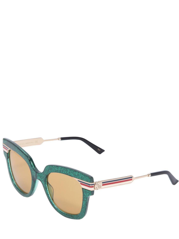 05351cb8fba Lyst - Gucci Square Vintage Web   Glitter Sunglasses in Green