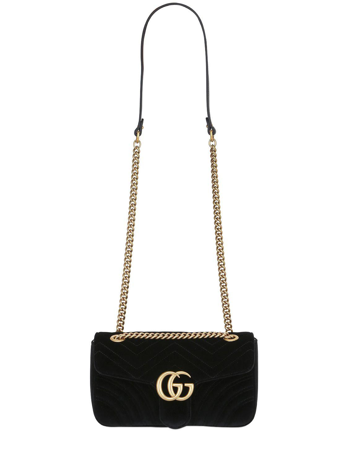 Gucci - Black Small Gg Marmont 2.0 Velvet Shoulder Bag - Lyst. View  fullscreen 0c64f7296d820