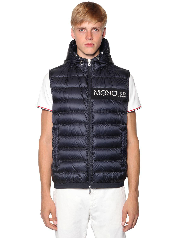 52b2df45fc78 Moncler Laruns Nylon Down Vest in Blue for Men - Lyst