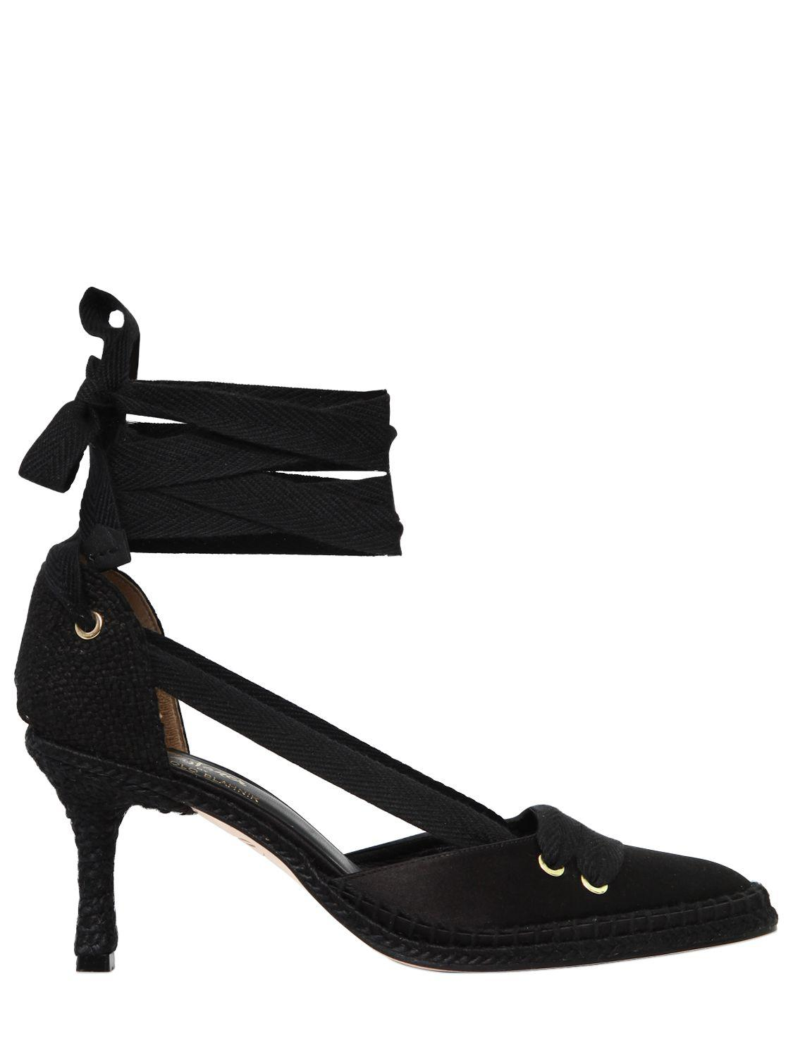 Manolo Blahnik 70MM MANOLO NIGHT SATIN LACE-UP PUMPS