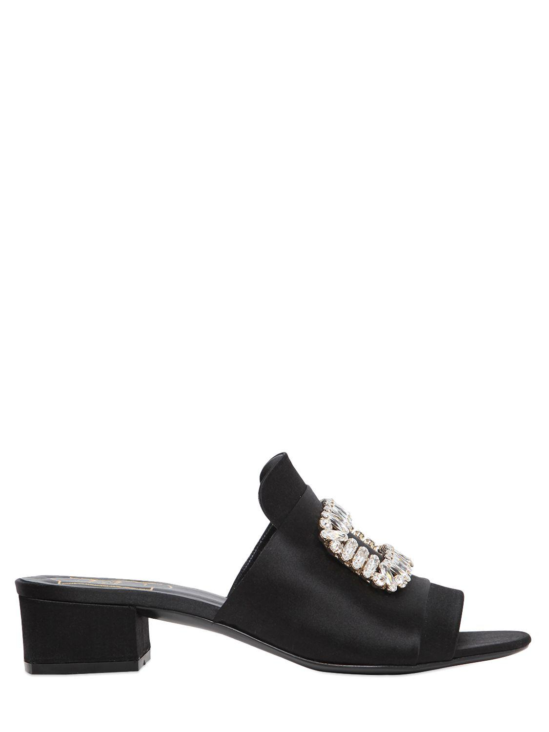 Roger Vivier. Women's Black 40mm Swarovski Satin Slide Sandals