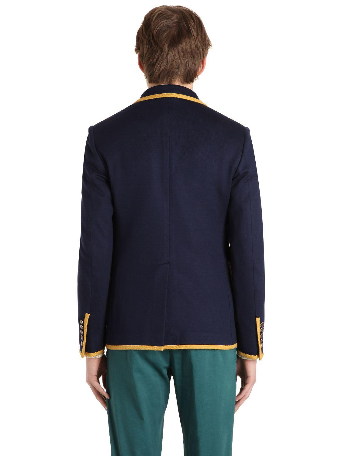 c5b4ff671 Gucci Tiger Patch Cotton Jersey Jacket in Blue for Men - Lyst