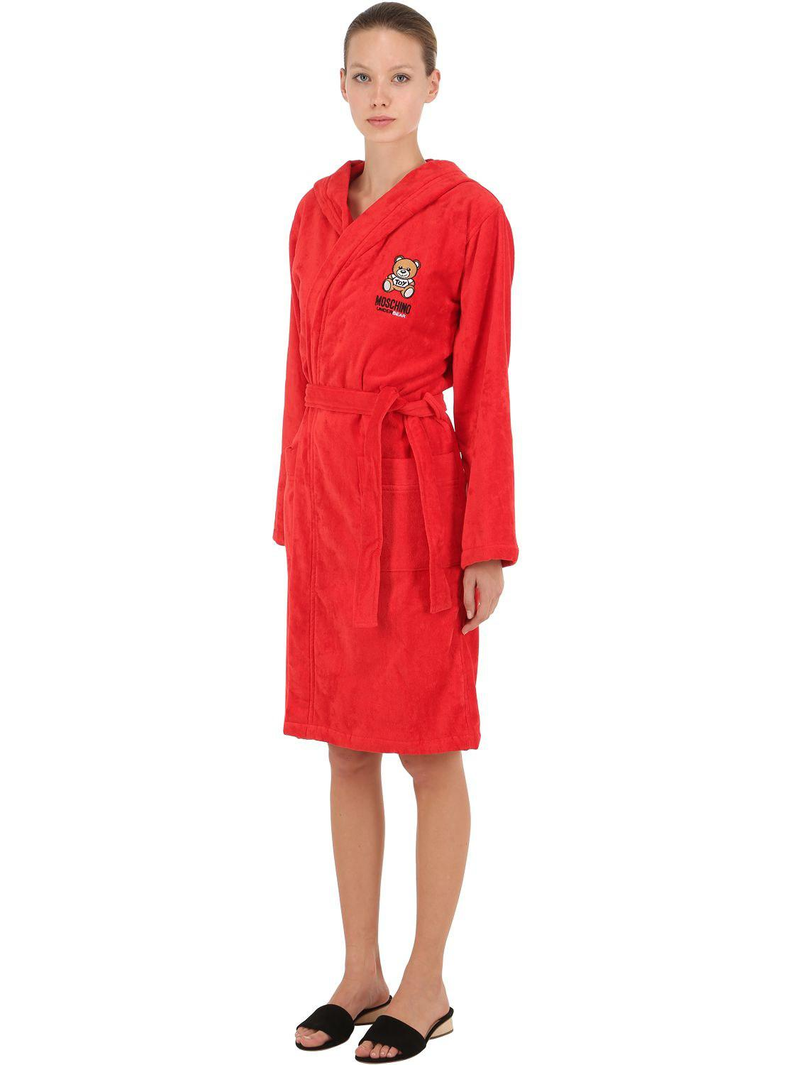 Moschino Underbear Cotton Bathrobe in Red - Lyst 6b6abfdf5