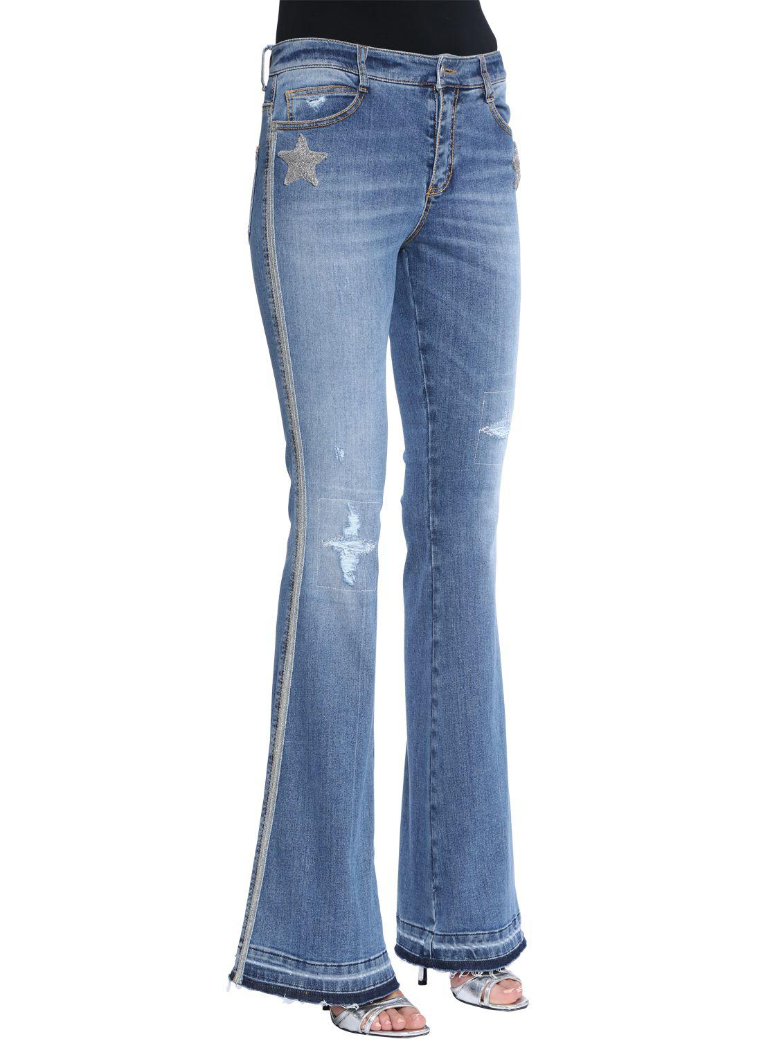 ERMANNO SCERVINO BOOT CUT STARS WASHED DENIM JEANS YEufCD