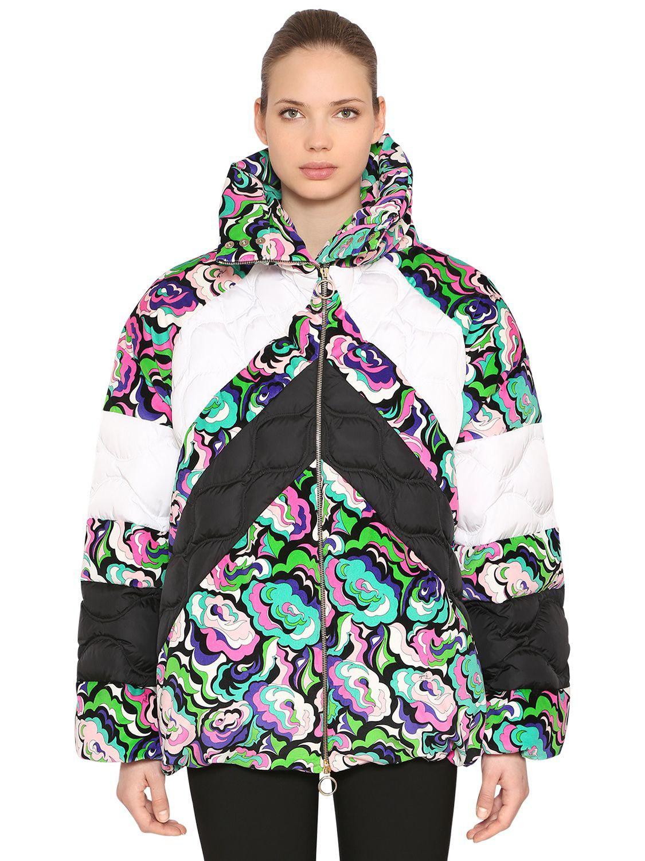 7826295b568f Lyst - Emilio Pucci Floral Print Nylon   Velvet Down Jacket