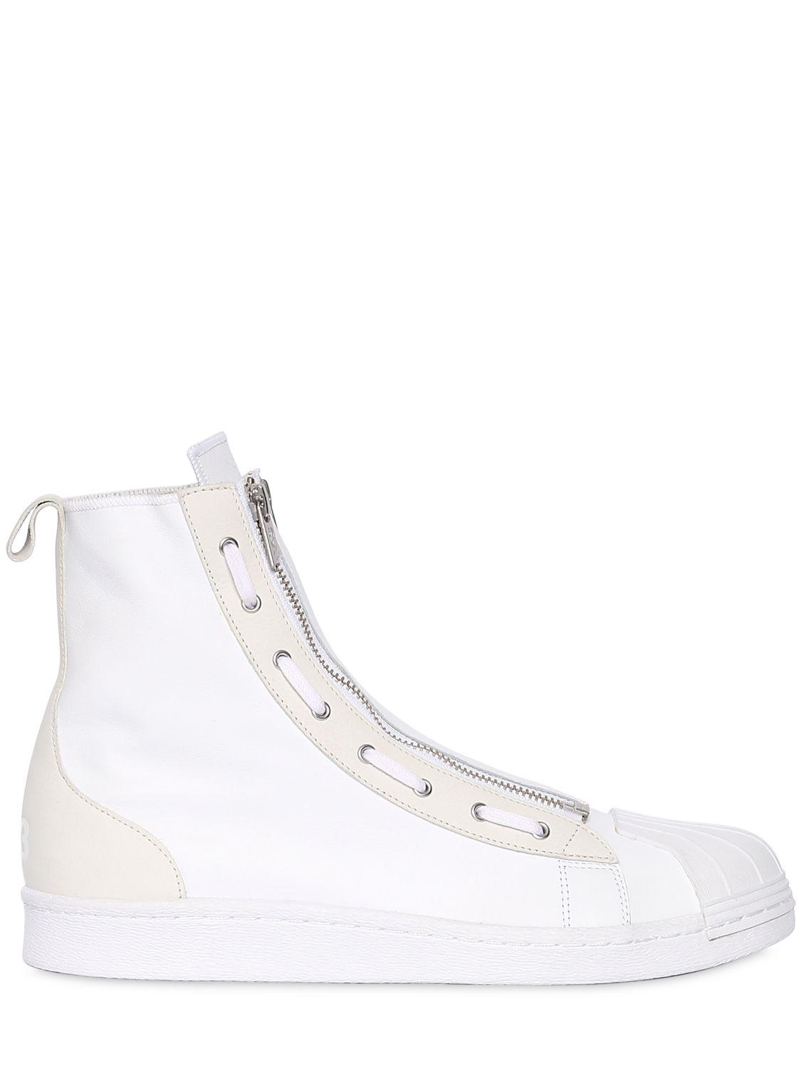 69445ad3bd1a Lyst - Y-3 Leather Super Zip High Top Sneakers in White for Men