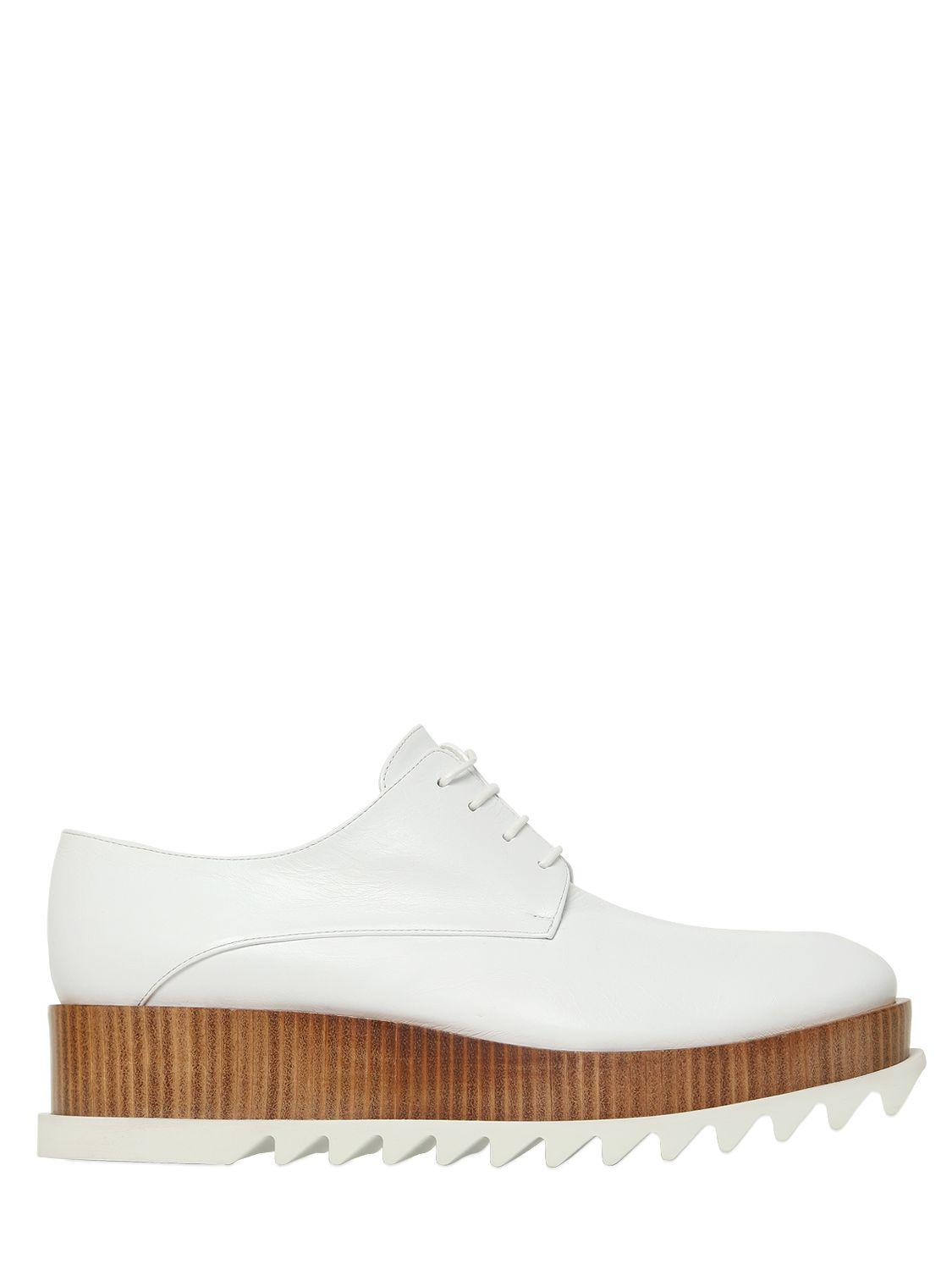 Jil Sander 50mm Leather Lace-Up Shoes White Women