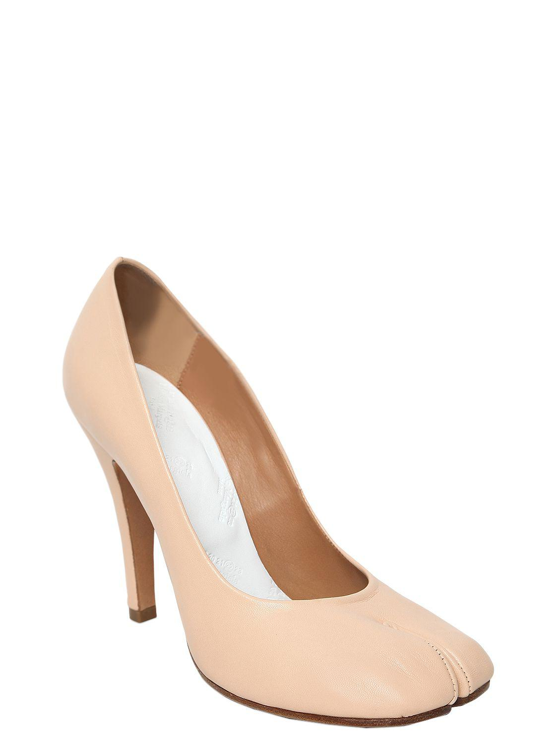 830f47dcf3d7 Lyst - Maison Margiela 100mm Tabi Stiletto Leather Pumps in Natural - Save  30%