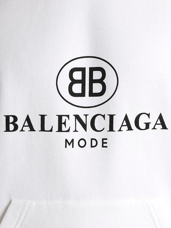 Lyst Balenciaga Logo Hooded Cotton Blend Sweatshirt In