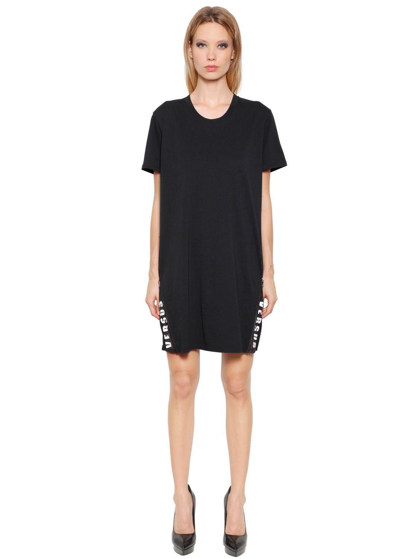 Lyst versus hidden logo cotton jersey t shirt dress in black for Logo t shirt dress