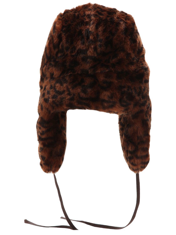 76d7ffe876f5e Kangol Leopard Printed Faux Fur Trapper Hat in Brown - Lyst