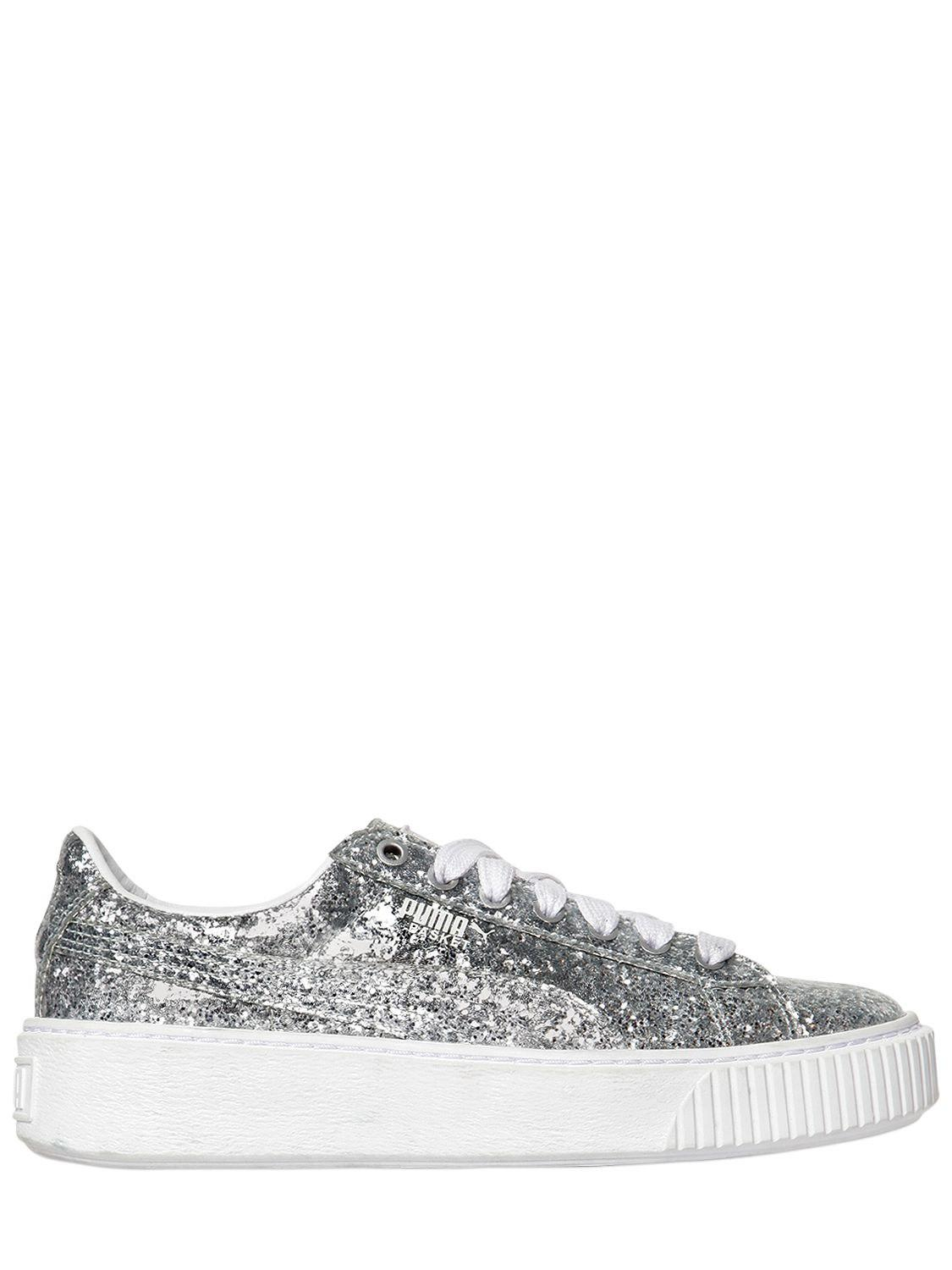 48a37fc0d9862c Puma Select. Women s Metallic Basket Platform Glitter Trainers
