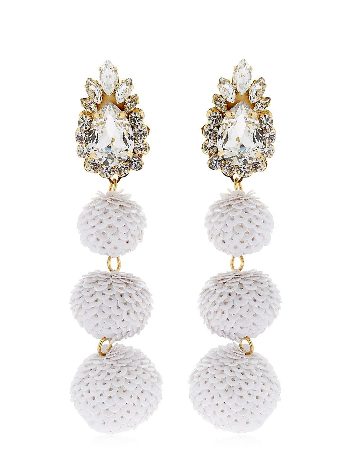 Shourouk Palermo Crystal Earrings in White Brass, Swarovski Crystals and Pearls
