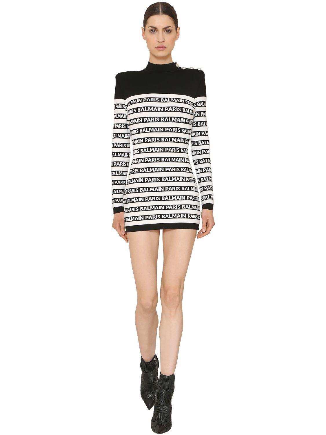 7cbb3e7d Balmain Button-embellished Striped Intarsia Stretch-knit Mini Dress ...