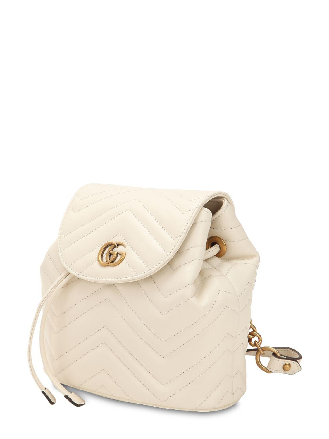 5fc3fd4c9484aa Gucci - White Mini Gg Marmont Leather Backpack - Lyst. View fullscreen