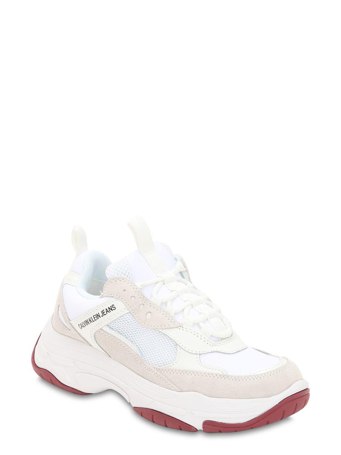 eaf44f05c Calvin Klein 60mm Maya Suede & Leather Sneakers in White - Lyst