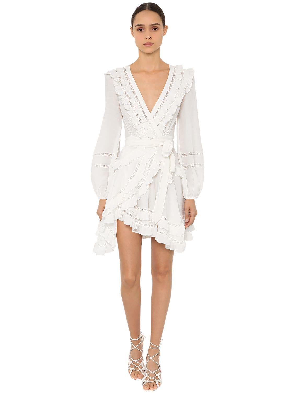 909d4e5f4cfe Cute White Dress - Wrap Dress - Short Sleeve Dress - LWD