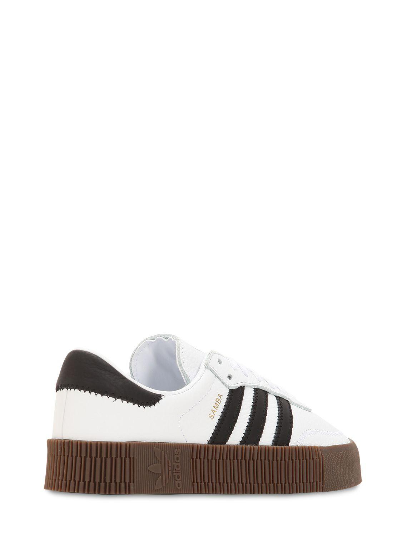 fa86aac60a0 Adidas Originals - White Samba Rose Textured-leather Platform Sneakers -  Lyst. View fullscreen