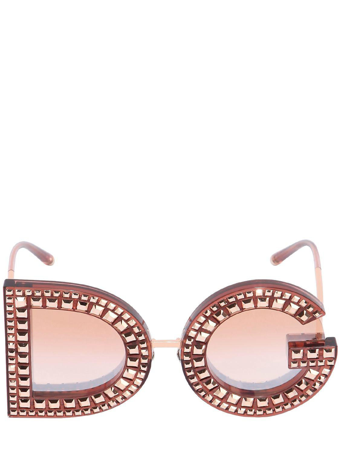 1c2849bcacb0 Lyst - Dolce   Gabbana Dg Crystals Embellished Sunglasses in Pink