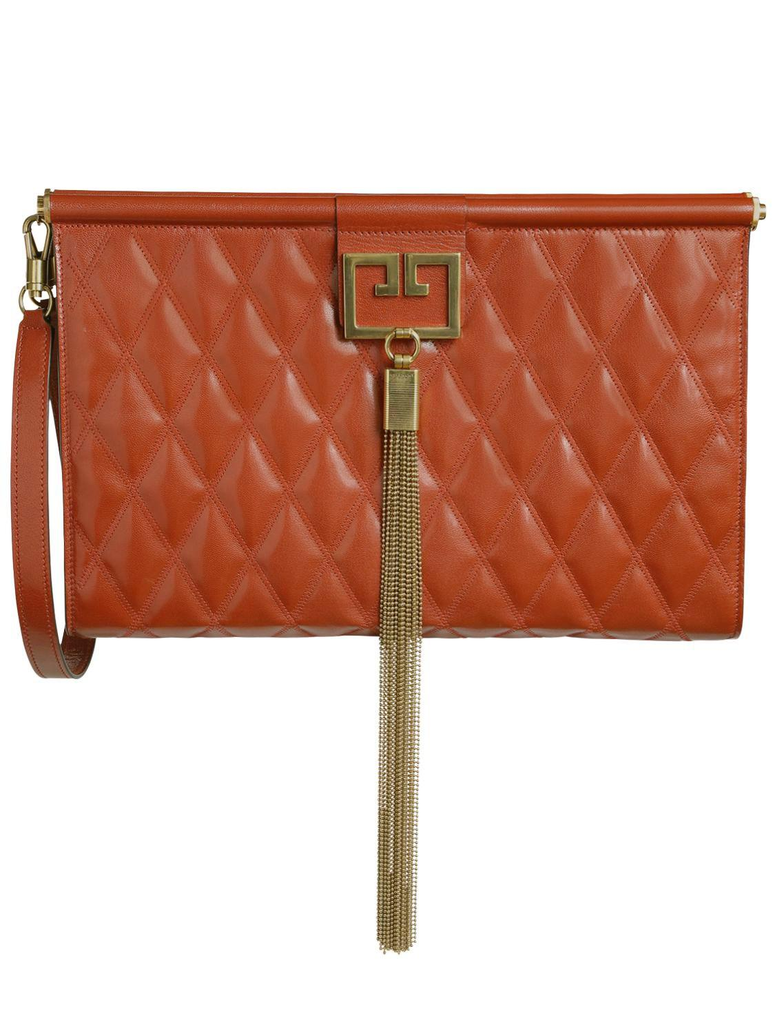 Lyst - Givenchy Large Gem Quilted Leather Clutch in Red - Save 40% 90416b43d4e70