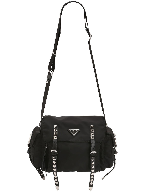 ... purchase lyst prada nylon shoulder bag w studded straps in black 39d62  91161 362a4c085a391