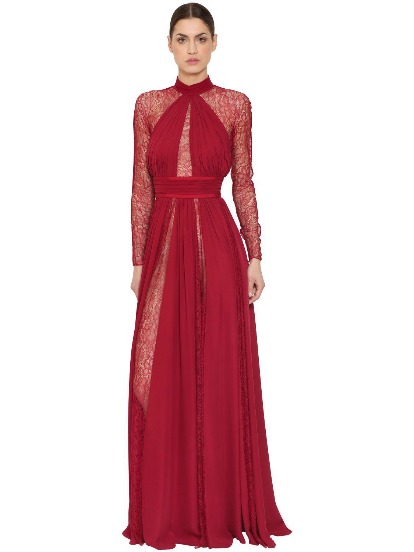 d4aaeea4ec2d Zuhair Murad Silk Georgette & Lace Dress in Red - Lyst