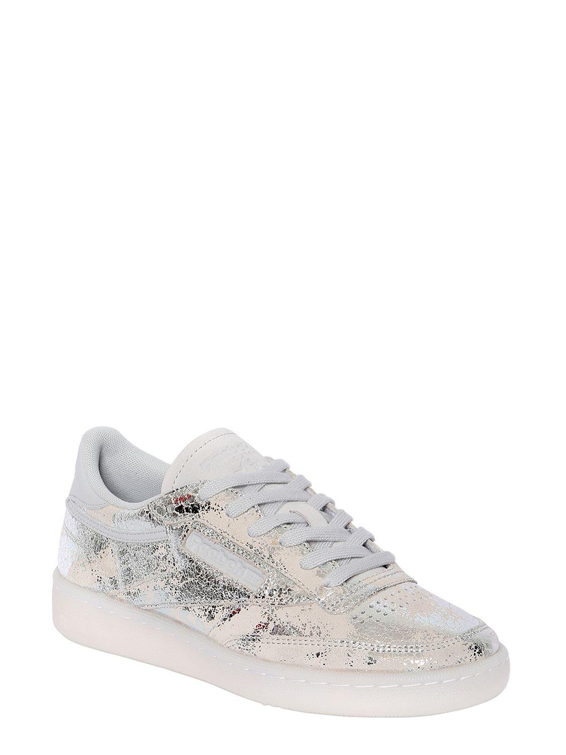 Reebok CLUB C 85 HYPE PRINTED LEATHER SNEAKERS CnOCW