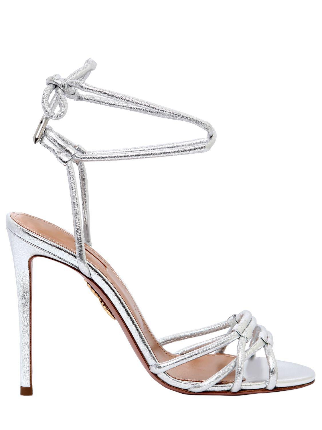 Aquazzura 105MM LAURA TUBULAR LEATHER SANDALS TZTfX