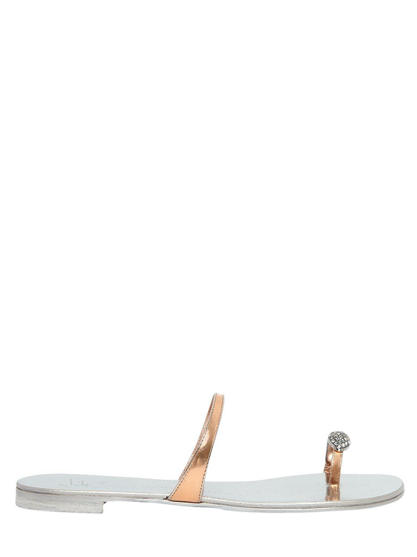 Giuseppe Zanotti Mirrored rose flat sandal with jewel RING ciimDq