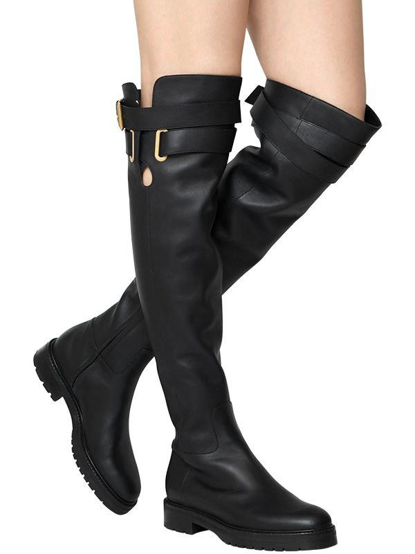 ValentinoBowrap Leather Over-The-Knee Boots