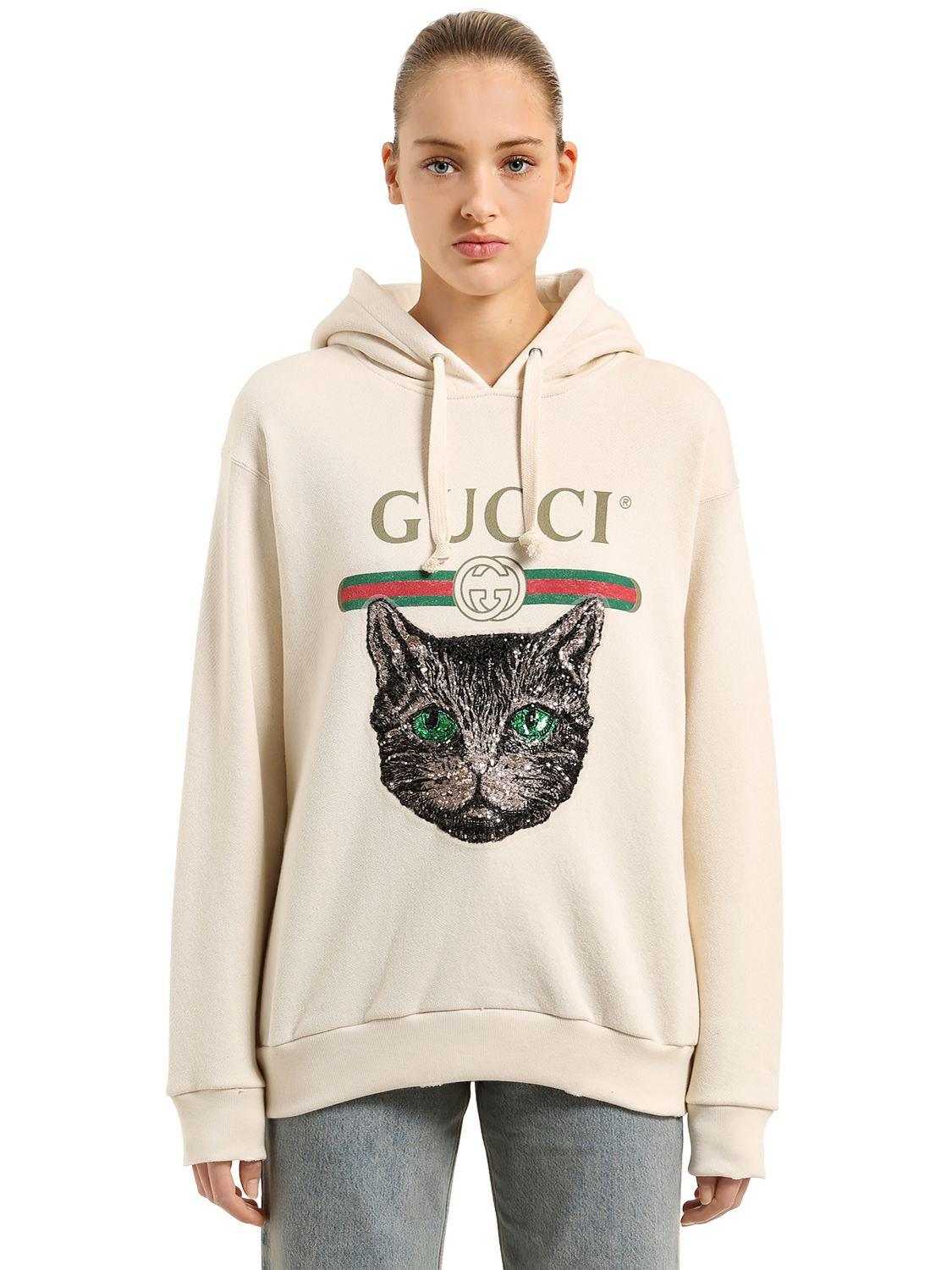 abd076a02e9 Lyst - Gucci Hooded Cat   Logo Printed Sweatshirt in White