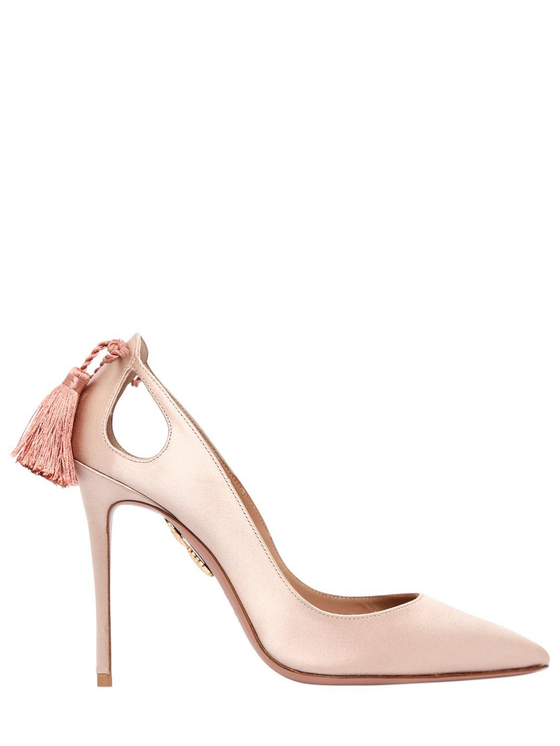 Aquazzura 105MM FOREVER MARYLYN SATIN PUMPS 100% Authentic Cheapest For Sale Outlet Cheapest Price Footlocker Pictures Low Shipping Fee Cheap Price 91slXR