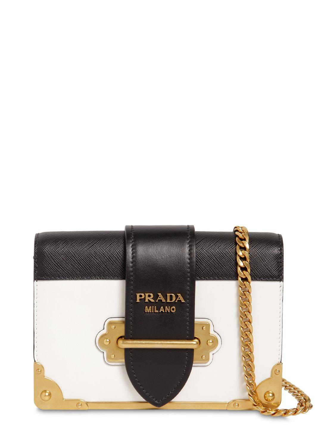 bf4b0dc125f0 Lyst - Prada Small Cahier Leather Shoulder Bag in Black - Save 4%