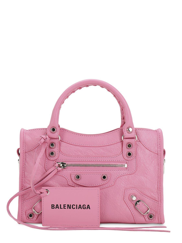 ca562085c1 Balenciaga - Pink Mini City Leather Strap Logo Bag - Lyst. View fullscreen