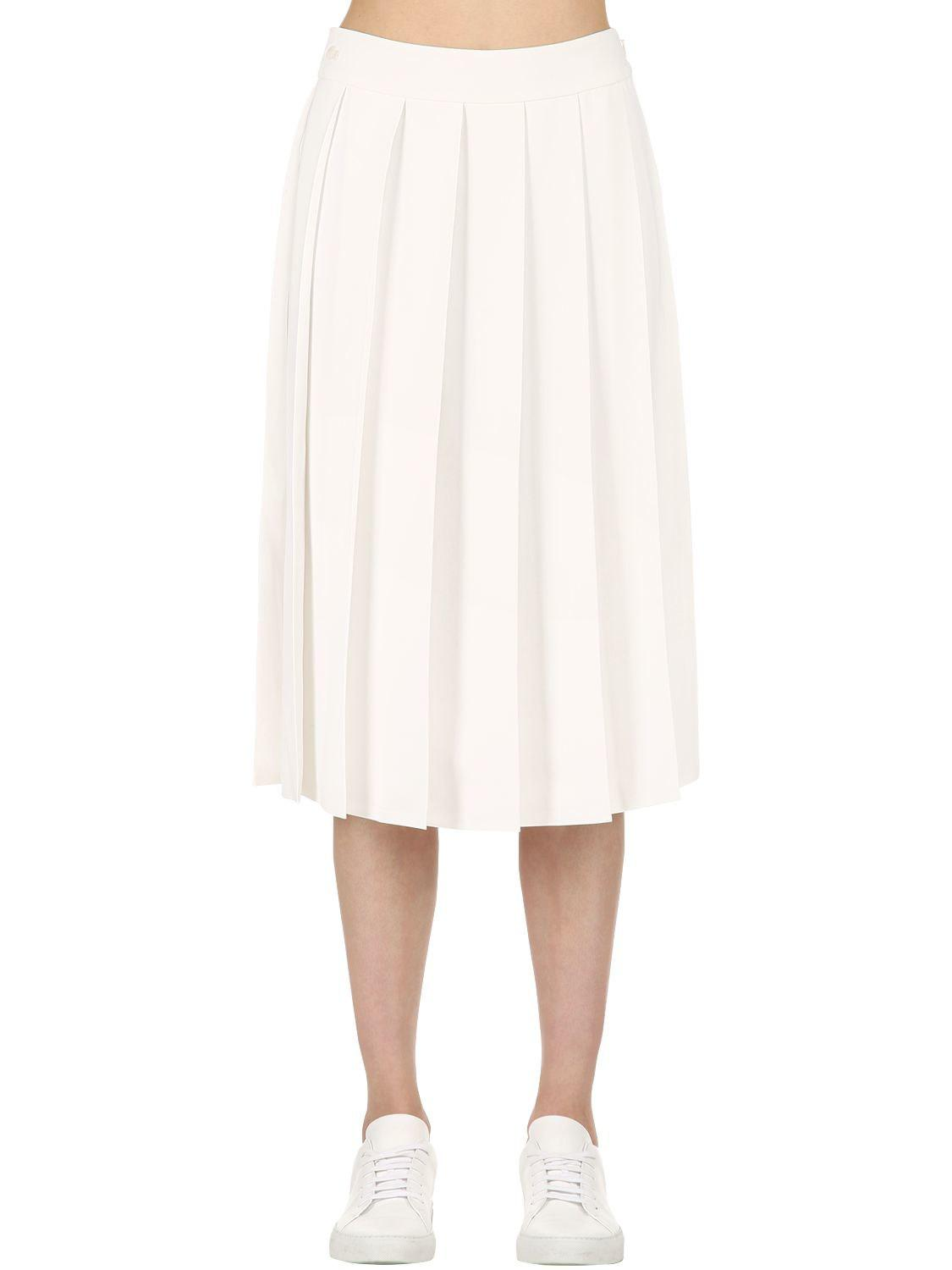 8bba977be1 Lacoste Pleated Muslin Skirt in White - Lyst
