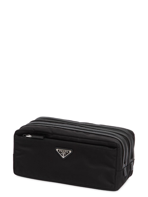 d03674302b2 Prada - Black Dual Compartment Nylon Toiletry Bag for Men - Lyst. View  fullscreen