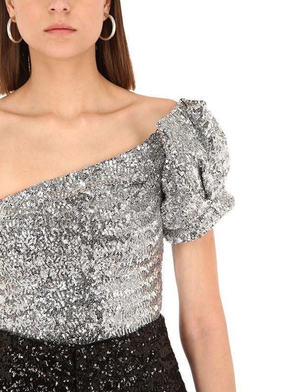aae6b82bd2ef4c Isabel Marant Ocha Sequined One Shoulder Top in Metallic - Lyst