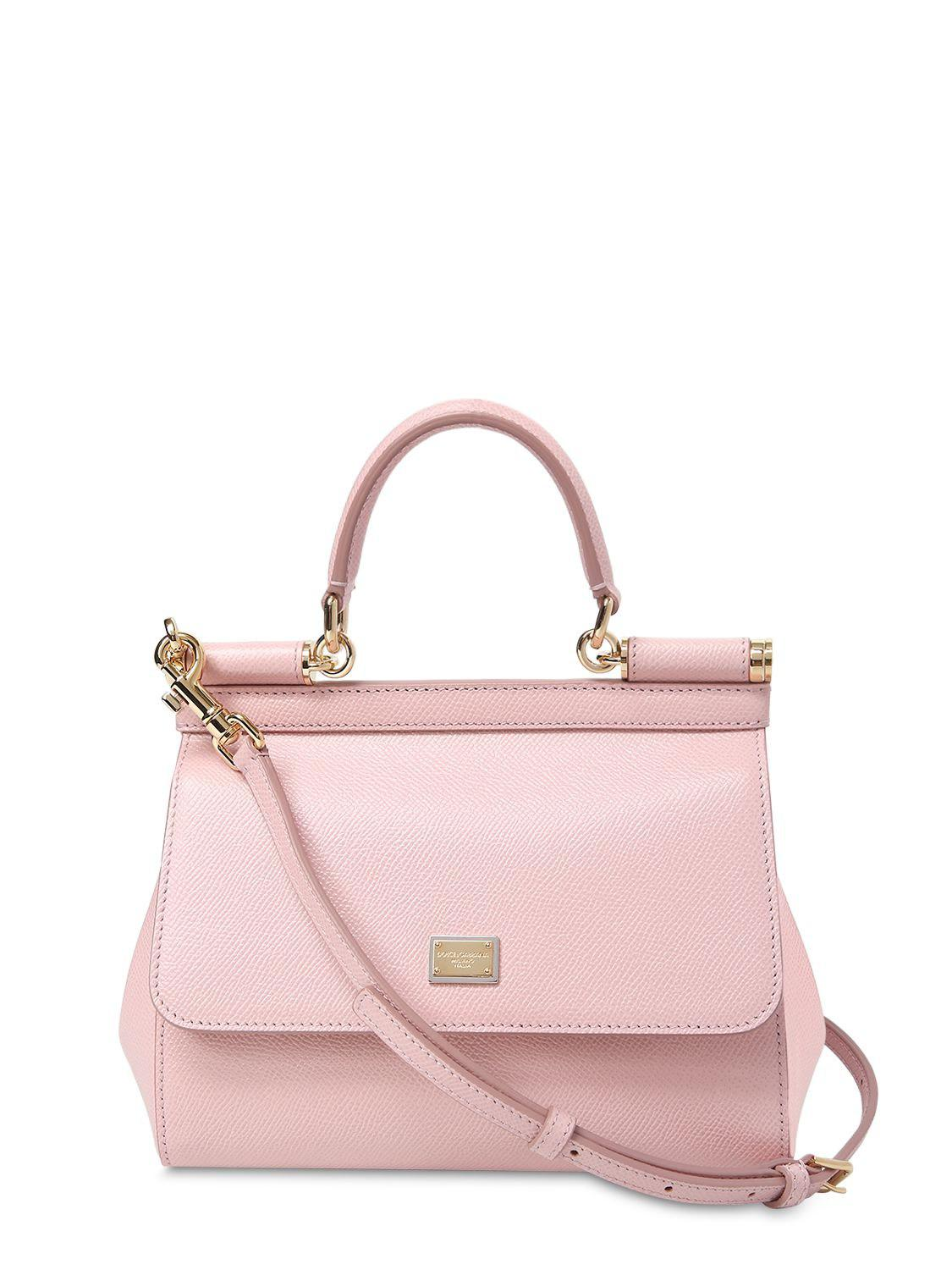 6284340bb1 Lyst - Dolce   Gabbana Small Sicily Dauphine Leather Bag in Pink