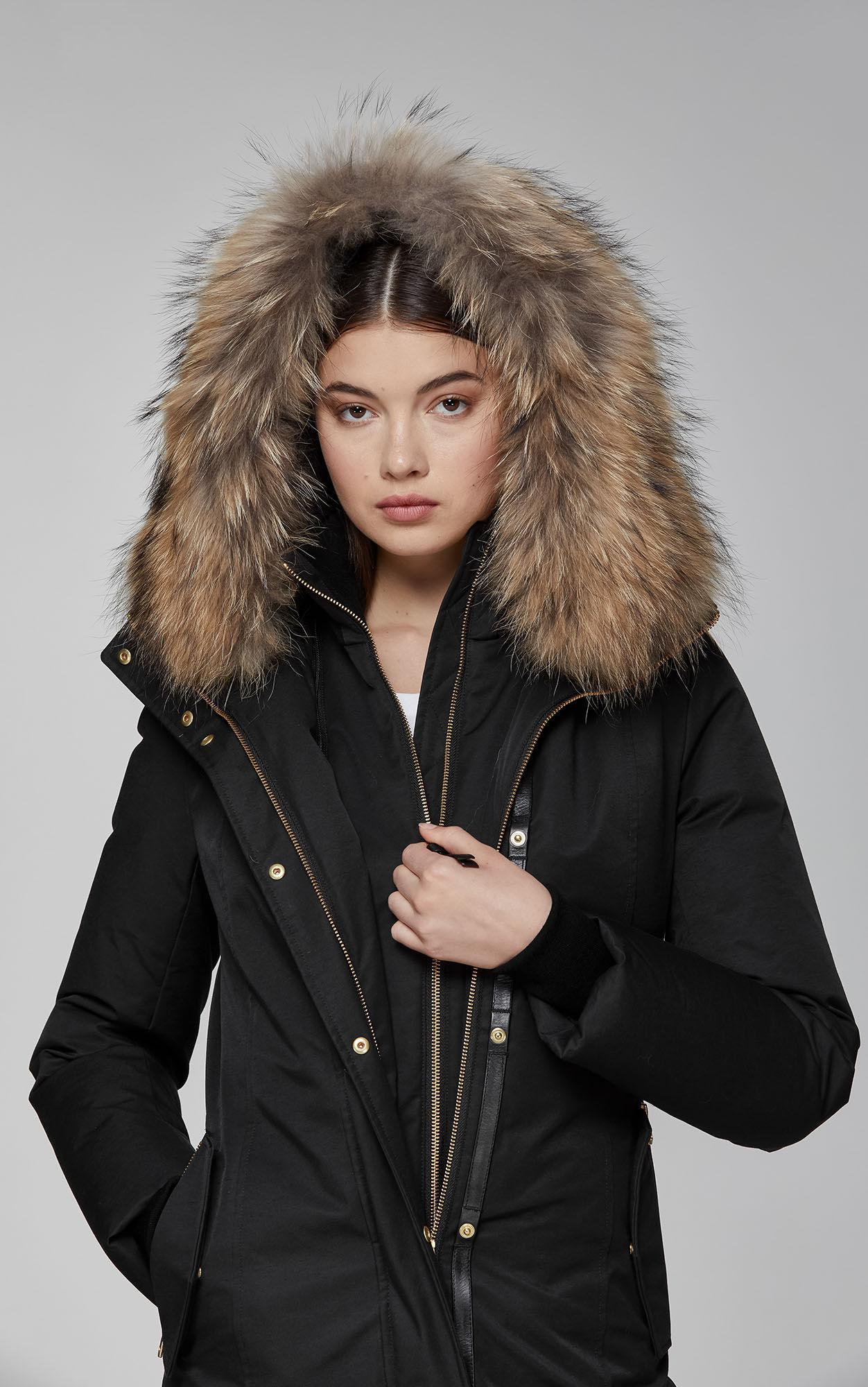 a6d1439f96a21 cheap mackage kerry long army fitted winter down parka for women with fur  hood 4fa3d a5a0f  france mackage black harlowe lux down coat lyst. view  fullscreen ...