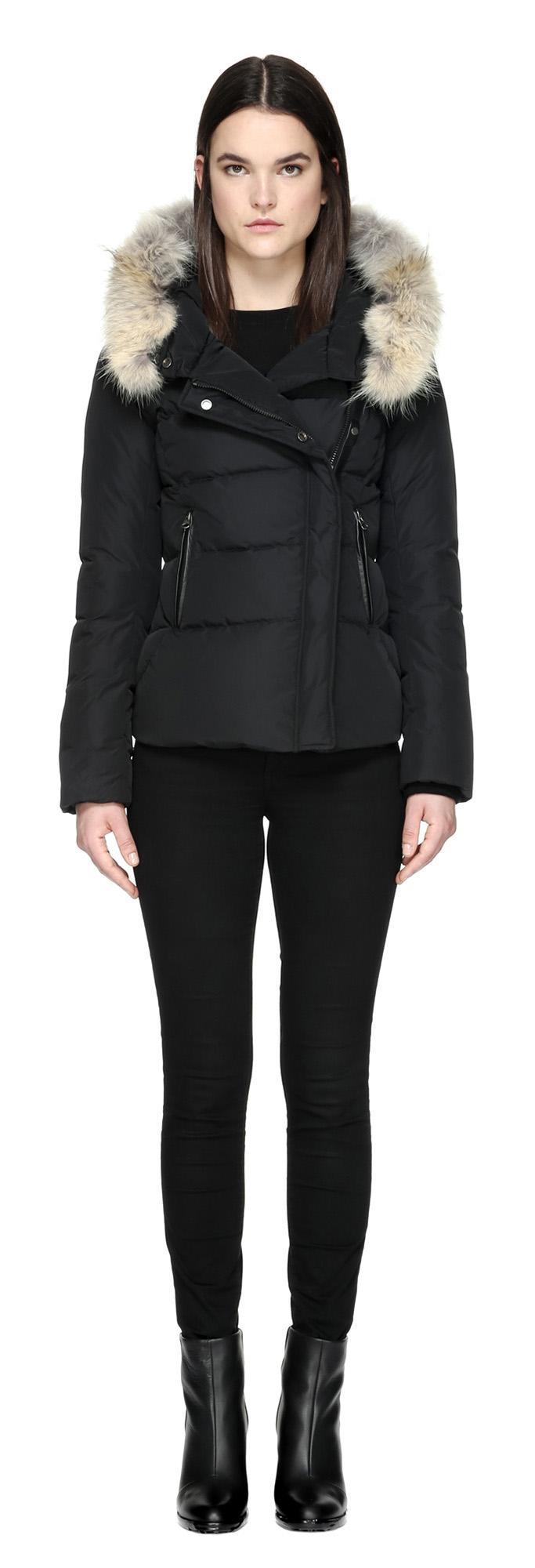 Mackage Adi Black Bomber Jacket With Fur Hood in Black | Lyst