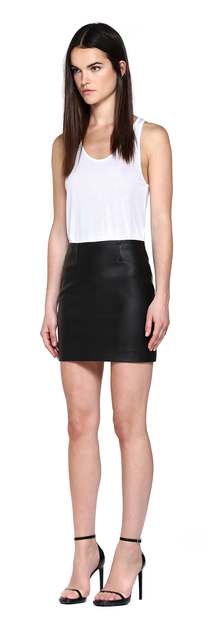 Mackage Alva Black Leather Fitted Skirt in Black | Lyst