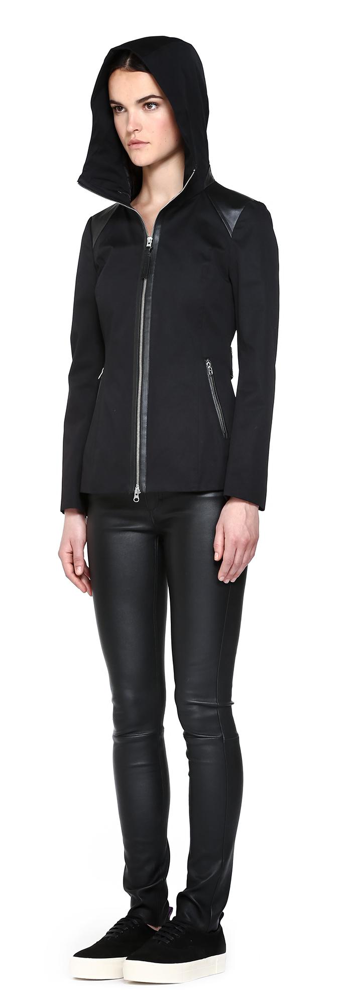 Mackage Kelsie Black Short Trench Coat With Hood in Blue | Lyst