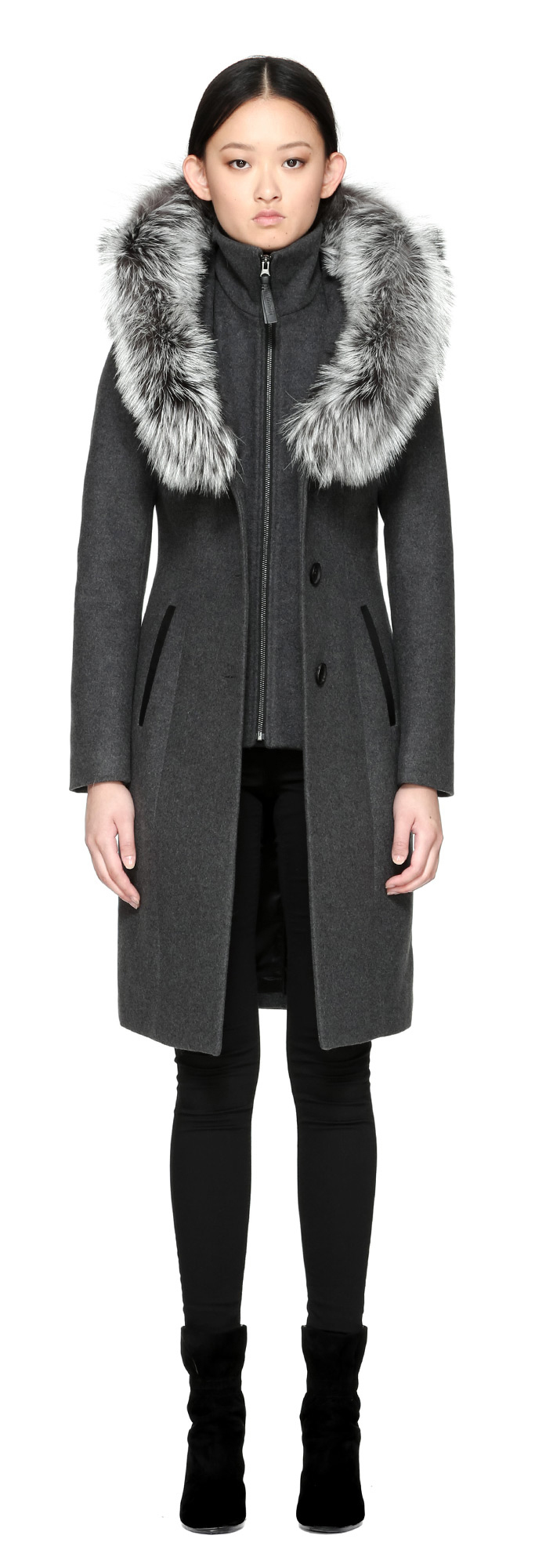 be70a5a03463 ... usa lyst mackage mila x wool coat with fur trim hood in charcoal in  blue 14bf4