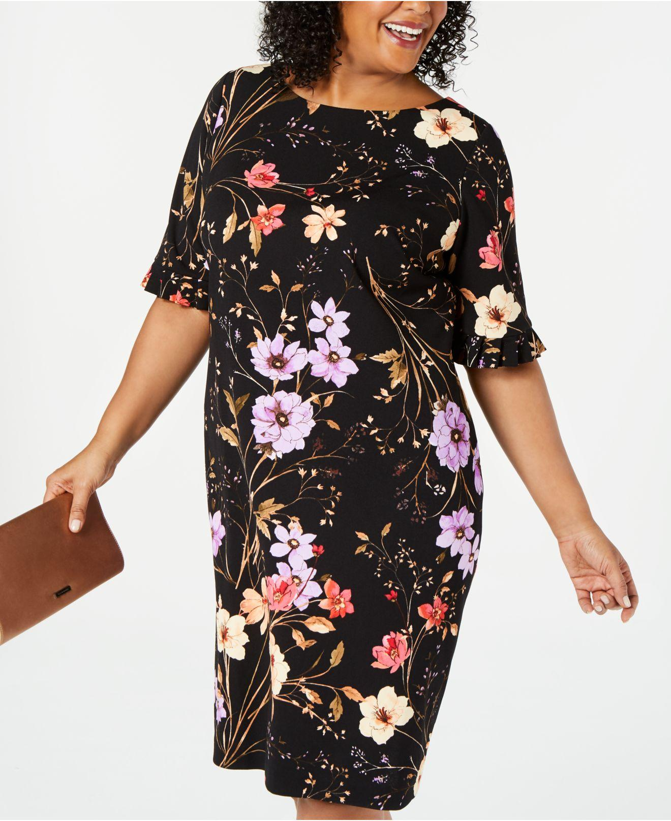 00b2c3b52b3 Calvin Klein - Black Plus Size Floral-print Sheath Dress - Lyst. View  fullscreen